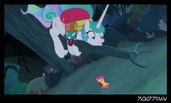 Size: 1288x778   Tagged: safe, edit, edited screencap, editor:teren rogriss, screencap, princess celestia, scootaloo, alicorn, pegasus, pony, between dark and dawn, alektorophobia, aurekbesh script, bow, forest, frightened, hair bow, looking down, scootachicken, scootaloo is best chicken, sitting in a tree, that princess sure is afraid of chickens, tree, tree branch