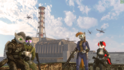 Size: 1920x1080 | Tagged: safe, artist:tfc0234, oc, oc only, oc:blackjack, oc:littlepip, oc:maria arkhi, oc:tfc0234, anthro, fallout equestria, fallout equestria: project horizons, 3d, anthro oc, chernobyl, crossover, female, gauss rifle, helicopter, horror, male, s.t.a.l.k.e.r., source filmmaker, ukraine, vault security armor, video game crossover
