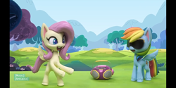 Size: 1440x720   Tagged: safe, fluttershy, rainbow dash, my little pony: pony life, bipedal, dance dance, dancing, radio, stop motion, subtitles, sunglasses, text