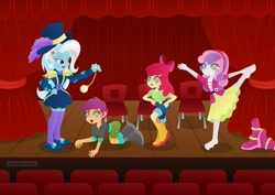 Size: 1280x906 | Tagged: safe, artist:lavenderrain24, apple bloom, scootaloo, sweetie belle, trixie, equestria girls, ballerina, barefoot, behaving like a chicken, behaving like a dog, boots, clothes, cutie mark crusaders, dress, feet, hoodie, hypnosis, hypnotist, hypnotized, jacket, jeans, pants, pendulum swing, pocket watch, shirt, shoes, shorts, skirt, stage, swirly eyes, theater