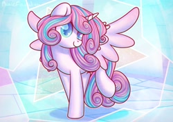 Size: 3508x2480 | Tagged: safe, artist:musicfirewind, princess flurry heart, alicorn, pony, cute, female, flurrybetes, mare, older, older flurry heart, raised leg, smiling, solo, spread wings, wings