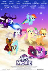 Size: 2946x4419 | Tagged: safe, artist:ejlightning007arts, applejack, capper dapperpaws, fluttershy, pinkie pie, princess skystar, rainbow dash, rarity, spike, storm king, tempest shadow, twilight sparkle, alicorn, earth pony, hippogriff, pegasus, unicorn, my little pony: the movie, broken horn, eye scar, glowing horn, horn, mane seven, mane six, poster, running, scar, scared, staff, staff of sacanas, thomas and the magic railroad, twilight sparkle (alicorn)