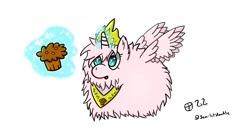 Size: 1587x817 | Tagged: safe, artist:scarletdoodle, oc, oc:fluffle puff, alicorn, pony, alicornified, flufflecorn, food, magic, muffin, race swap, solo
