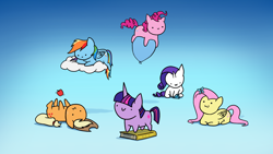 Size: 3072x1728 | Tagged: safe, artist:magfen, applejack, fluttershy, pinkie pie, rainbow dash, rarity, twilight sparkle, butterfly, earth pony, pegasus, pony, unicorn, :3, :i, apple, balloon, behaving like a cat, book, c:, chibi, cloud, cute, diamond, dot eyes, food, mane six, on a cloud, on back, prone, simple background, sitting, smiling, unicorn twilight, wallpaper