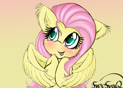 Size: 1715x1229   Tagged: safe, artist:freefraq, fluttershy, pegasus, pony, :p, blushing, cheek fluff, cute, ear fluff, female, hooves to the chest, leg fluff, mare, shyabetes, solo, tongue out