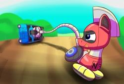 Size: 1280x871   Tagged: safe, artist:trackheadtherobopony, oc, oc:trackhead, original species, pony, robot, robot pony, wheelpone, car, male, pulling, reliant robin, solo, stallion, tail