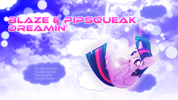 Size: 3840x2160 | Tagged: safe, artist:game-beatx14, artist:xpesifeindx, edit, twilight sparkle, pony, unicorn, falling, female, mare, open mouth, solo, song reference, text, unicorn twilight, wallpaper, wallpaper edit