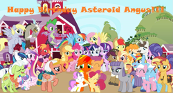 Size: 1217x657 | Tagged: safe, artist:lachlancarr1996, aloe, apple bloom, applejack, big macintosh, bright mac, cookie crumbles, derpy hooves, discord, fluttershy, granny smith, hondo flanks, lotus blossom, mane allgood, maud pie, pear butter, pinkie pie, princess cadance, princess flurry heart, rainbow dash, rarity, scootaloo, shining armor, snap shutter, somnambula, spike, sugar belle, sunset shimmer, sweetie belle, twilight sparkle, oc, oc:asteroid angus, oc:lachlancarr, alicorn, draconequus, dragon, earth pony, pegasus, unicorn, bipedal, birthday, cutie mark crusaders, mane seven, mane six, sweet apple acres, winged spike