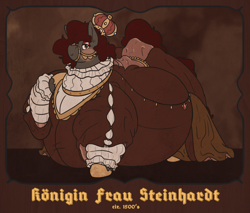 Size: 2354x2004 | Tagged: safe, artist:queenfrau, oc, oc only, oc:queen frau, earth pony, pony, belly, bingo wings, blackletter, bridle, chubby, chubby cheeks, clothes, crown, dress, fat, female, impossibly large belly, jewelry, mare, old, older, painting, regalia, solo, tack