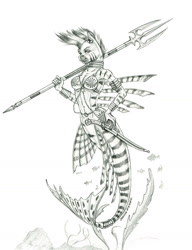 Size: 1100x1430 | Tagged: safe, artist:baron engel, zecora, anthro, mermaid, zebra, bikini, bikini top, clothes, female, jewelry, mare, mermaidized, monochrome, pencil drawing, solo, spear, species swap, swimsuit, sword, traditional art, weapon