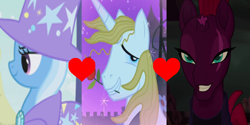 Size: 1264x632 | Tagged: safe, edit, edited screencap, screencap, fizzlepop berrytwist, prince blueblood, tempest shadow, trixie, berryblood, bluetrix, crack shipping, female, lesbian, male, polyamory, shipping, shipping domino, straight, tempestrix