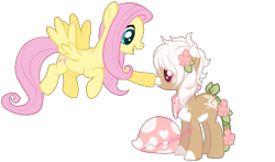 Size: 875x513   Tagged: safe, artist:skulifuck, oc, oc:bloom, oc:blossom, monster pony, original species, pegasus, piranha plant pony, plant pony, pony, augmented tail, base used, boop, duo, female, flower, flower in hair, flying, mare, neckerchief, open mouth, plant, simple background, smiling, transparent background