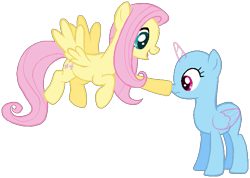 Size: 719x513 | Tagged: safe, artist:ponbases, oc, alicorn, pegasus, pony, alicorn oc, bald, base, base used, boop, duo, female, flying, horn, mare, open mouth, simple background, smiling, transparent background, wings