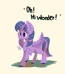 Size: 1273x1447 | Tagged: safe, artist:icecreamsandwich12, twilight sparkle, alicorn, butterfly, pony, butterfly on nose, cute, dialogue, female, heart, insect on nose, mare, open mouth, simple background, solo, spread wings, twiabetes, twilight sparkle (alicorn), unshorn fetlocks, white background, wings