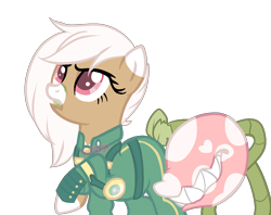 Size: 1300x1028   Tagged: safe, artist:skulifuck, oc, oc only, oc:bloom, oc:blossom, monster pony, original species, piranha plant pony, plant pony, alternate timeline, armor, augmented tail, base used, clothes, crystal war timeline, eyelashes, female, grin, plant, raised hoof, sharp teeth, simple background, smiling, teeth, transparent background