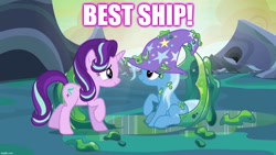 Size: 1280x720 | Tagged: safe, edit, edited screencap, screencap, starlight glimmer, trixie, to where and back again, best ship, caption, female, image macro, lesbian, shipping, startrix, text
