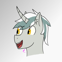 Size: 880x880 | Tagged: safe, artist:camellias, oc, oc only, oc:aiel, alicorn, curved horn, ear fluff, head, head only, horn, two toned mane, yellow eyes