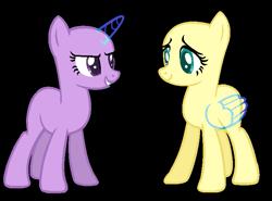 Size: 709x525 | Tagged: safe, artist:alari1234-bases, fluttershy, twilight sparkle, unicorn, bald, base, duo, eyelashes, horn, simple background, smiling, transparent background, unicorn twilight, wings