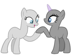 Size: 790x608 | Tagged: safe, artist:chanour-bases, earth pony, pony, unicorn, bald, base, duo, eyelashes, holding hooves, horn, open mouth, simple background, smiling, transparent background