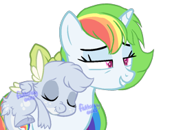 Size: 891x675 | Tagged: safe, artist:skulifuck, oc, oc only, oc:rainbow riot, dragon, pony, unicorn, base used, bedroom eyes, bow, dragon oc, duo, freckles, grin, hair bow, horn, multicolored mane, rainbow hair, riding, simple background, sleeping, smiling, transparent background, unicorn oc