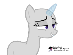 Size: 891x675 | Tagged: safe, artist:kingbases, oc, oc only, pony, unicorn, bald, bedroom eyes, eyelashes, grin, horn, simple background, smiling, solo, text, transparent background, unicorn oc