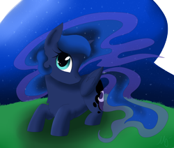 Size: 2600x2200 | Tagged: safe, artist:maravor, princess luna, alicorn, pony, chest fluff, cute, cutie mark eyes, female, high res, looking at you, lunabetes, mare, night, profile, prone, simple background, solo, stars, transparent background, wingding eyes