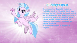 Size: 1280x719 | Tagged: safe, artist:andoanimalia, silverstream, classical hippogriff, hippogriff, bio, cute, diastreamies, female, solo, text