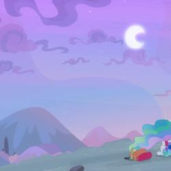 Size: 960x960 | Tagged: safe, screencap, princess celestia, princess luna, alicorn, pony, derpibooru, between dark and dawn, crescent moon, cropped, female, forced juxtaposition, juxtaposition, juxtaposition win, mare, meme, meta, moon, sky