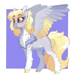 Size: 2000x2000   Tagged: safe, artist:scarletskitty12, derpy hooves, pegasus, pony, abstract background, blushing, chest fluff, cloven hooves, coat markings, colored hooves, colored wings, cute, derpabetes, ear fluff, feathered fetlocks, female, fluffy, gradient wings, high res, leg fluff, mare, missing cutie mark, pale belly, solo, unshorn fetlocks, wings