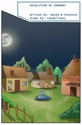 Size: 1280x1949 | Tagged: safe, artist:candyclumsy, comic:revolution of harmony, fountain, house, moon, no pony, tree