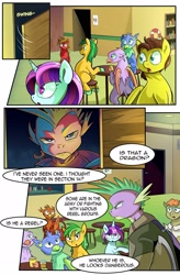 Size: 1280x1949 | Tagged: safe, artist:candyclumsy, spike, dragon, earth pony, griffon, pegasus, pony, unicorn, comic:revolution of harmony, bar, clothes, comic, female, male, mare, sitting