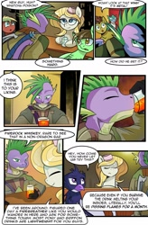 Size: 1280x1949 | Tagged: safe, artist:candyclumsy, spike, oc, dragon, earth pony, griffon, pegasus, pony, comic:revolution of harmony, alcohol, bar, clothes, comic, female, male, mare