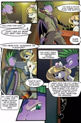 Size: 1280x1949 | Tagged: safe, artist:candyclumsy, spike, oc, dragon, earth pony, pony, comic:revolution of harmony, bar, butt, clothes, comic, female, male, mare, plot