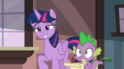 Size: 991x551 | Tagged: safe, screencap, spike, twilight sparkle, alicorn, ppov, cute, discovery family logo, lidded eyes, quill pen, smiling, twiabetes, twilight sparkle (alicorn)