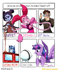 Size: 1280x1529 | Tagged: safe, artist:arteses-canvas, twilight sparkle, alicorn, anthro, human, pony, robot, spider, six fanarts, 3d glasses, anthro with ponies, bust, crossover, doctor who, female, infinity train, male, mare, muffet, one-one, optimus prime, out of frame, smiling, sonic screwdriver, spinel (steven universe), steven universe, tenth doctor, thinking, transformers, twilight sparkle (alicorn), undertale
