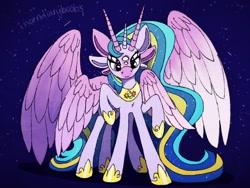 Size: 1280x960 | Tagged: safe, artist:incendiaryboobs, princess cadance, princess celestia, princess luna, twilight sparkle, alicorn, pony, seraph, seraphicorn, alicorn tetrarchy, female, fusion, horn, mare, multiple ears, multiple eyes, multiple horns, multiple legs, multiple limbs, multiple wings, peytral, royalty, six legs, twilight sparkle (alicorn), wings