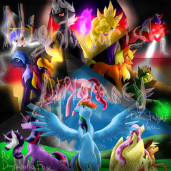Size: 5800x5800 | Tagged: safe, artist:florarena-kitasatina/dragonborne fox, applejack, fluttershy, pinkie pie, rainbow dash, rarity, twilight sparkle, oc, oc:agora, oc:arachno, oc:broken mirror, oc:king cauchemar, oc:nycto, oc:queen phant, oc:rainy parade, oc:redsky morning, alicorn, original species, fanfic:nightmarish diplomacy, absurd resolution, augmented, cel shading, commission, cover art, fire, jewelry, lightning, mane six, mountain, nightmare pony, ow the edge, regalia, shading, signature, twilight sparkle (alicorn), visor, wat, watermark