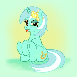 Size: 1773x1773 | Tagged: safe, anonymous artist, lyra heartstrings, /mlp/, 4chan, bow, cute, drawthread, gradient background, hair bow, lyrabetes, mlem, silly, sitting on ground, tongue out