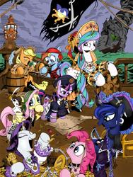 Size: 1536x2048 | Tagged: safe, artist:andypriceart, artist:splash1, color edit, edit, idw, angel bunny, applejack, fluttershy, philomena, pinkie pie, princess celestia, princess luna, rainbow dash, rarity, twilight sparkle, alicorn, earth pony, pegasus, phoenix, pony, rabbit, unicorn, spoiler:comic13, animal, banner, barrel, cider, clothes, coin, colored, cover, crown, eyes closed, fire, gem, gold, hat, jewelry, lamp, mane six, map, money, necklace, open mouth, pirate, pirate applejack, pirate dash, pirate fluttershy, pirate hat, pirate pinkie pie, pirate princess celestia, pirate princess luna, pirate rarity, pirate ship, pirate twilight, regalia, royal sisters, ship, smoke, sword, tongue out, treasure chest, unicorn twilight, wahaha, weapon