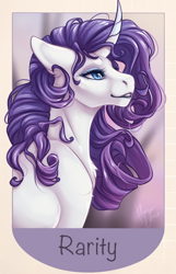 Size: 700x1086 | Tagged: safe, alternate version, artist:ronyardraws, rarity, pony, unicorn, bust, chest fluff, cropped, curved horn, eyeshadow, female, floppy ears, horn, makeup, mare, offscreen character, profile, smiling