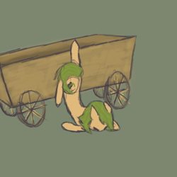 Size: 500x500 | Tagged: safe, artist:sunberry, derpibooru exclusive, oc, oc only, oc:sunberry, earth pony, pony, accident, broken bone, cutie mark, female, green mane, injured, lowres, simple background, sketch, solo, wheel