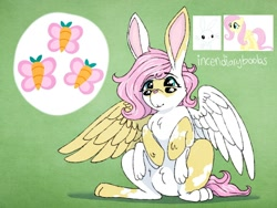 Size: 1280x960 | Tagged: safe, artist:incendiaryboobs, angel bunny, fluttershy, oc, hybrid, pony, rabbit, animal, cutie mark, four eyes, fusion, multiple eyes, multiple limbs, six legs, wat