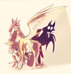 Size: 2630x2768 | Tagged: safe, artist:iheyyasyfox, fluttershy, oc, oc:cindy fugax, bat pony, pony, bat ponified, female, filly, flutterbat, offspring, parent:bulk biceps, parent:fluttershy, parents:flutterbulk, race swap, shadow