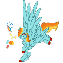 Size: 1200x1200 | Tagged: artist needed, source needed, useless source url, safe, lightning dust, rainbow dash, pegasus, pony, cutie mark, feather, female, four wings, fusion, mare, multiple wings, simple background, transparent background, unshorn fetlocks, wings