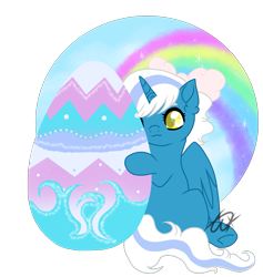 Size: 1439x1518 | Tagged: safe, artist:twinklecometyt, oc, oc:fleurbelle, alicorn, alicorn oc, bow, easter, easter egg, female, hair bow, holiday, horn, mare, simple background, transparent background, wings, yellow eyes