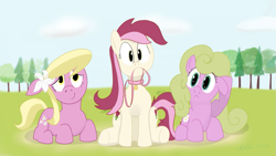 Size: 1081x608 | Tagged: safe, artist:addelum, daisy, flower wishes, lily, lily valley, roseluck, pony, collar, leash, mouth hold, pet tag, pony pet, prone, rosepet
