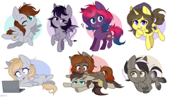 Size: 1200x674 | Tagged: safe, artist:higgly-chan, oc, oc only, oc:astral flare, bat pony, earth pony, pegasus, pony, unicorn, blushing, chibi, computer, laptop computer, one eye closed, question mark, raspberry, smiling, surprised, tongue out, wink