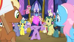 Size: 1920x1080 | Tagged: safe, screencap, alula, applejack, bigger jim, cupid (character), dandy dispatch, fluttershy, lemon hearts, lotus blossom, meadow song, neon lights, parasol, pinkie pie, plunkett, pluto, ponet, princess erroria, rainbow dash, rainbowshine, rarity, rising star, roseluck, ruby pinch, twilight sparkle, alicorn, earth pony, pegasus, pony, unicorn, fame and misfortune, 4chan, aura, cap, clothes, cute, female, filly, flying, hat, magic, male, mane six, mare, necktie, pinchybetes, pose, shirt, stallion, t-shirt, twilight sparkle (alicorn), twilight's castle