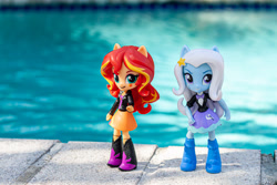 Size: 1400x933   Tagged: safe, artist:aquilateagle, sunset shimmer, trixie, equestria girls, doll, equestria girls minis, female, lesbian, photo, shipping, suntrix, swimming pool, toy