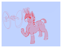 Size: 2301x1785 | Tagged: safe, artist:thewindking, oc, oc only, oc:mix, don't skip horn day, eye covered by hair, horn, magic, multiple horns, ponytail, simple background, sketch, tail wrap, weight lifting, zunicorn